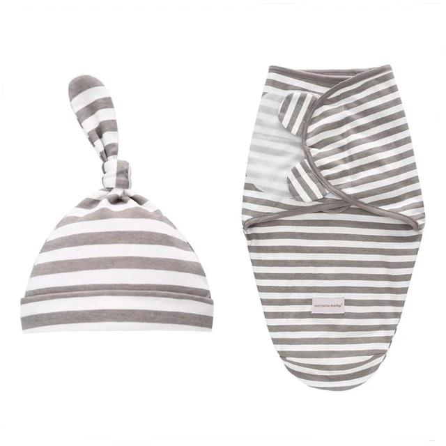 Gray Striped Velcro Swaddles