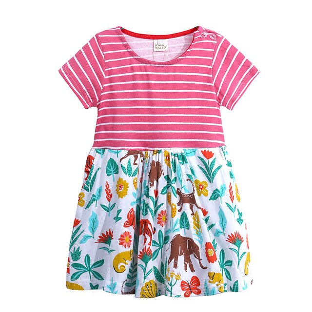 Cotton Tee Floral and Animal Dress