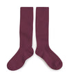Collegien Ribbed Knee High Socks / Marsala