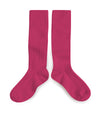 Collegien Ribbed Knee High Socks / Pink Lady