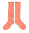 Collegien Ribbed Lace Trim Knee highs / Flamant De Camargue