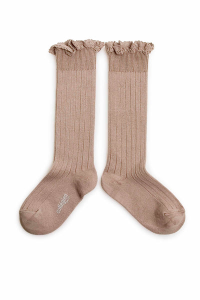 Collegien Ribbed Lace Trim Knee High Socks / Petite Taupe