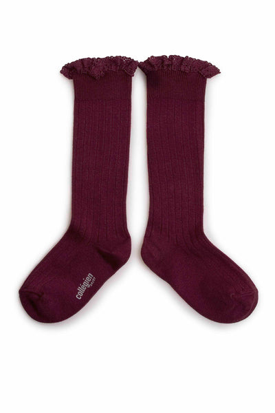 Collegien Ribbed Lace Trim Knee High Socks / Framboise