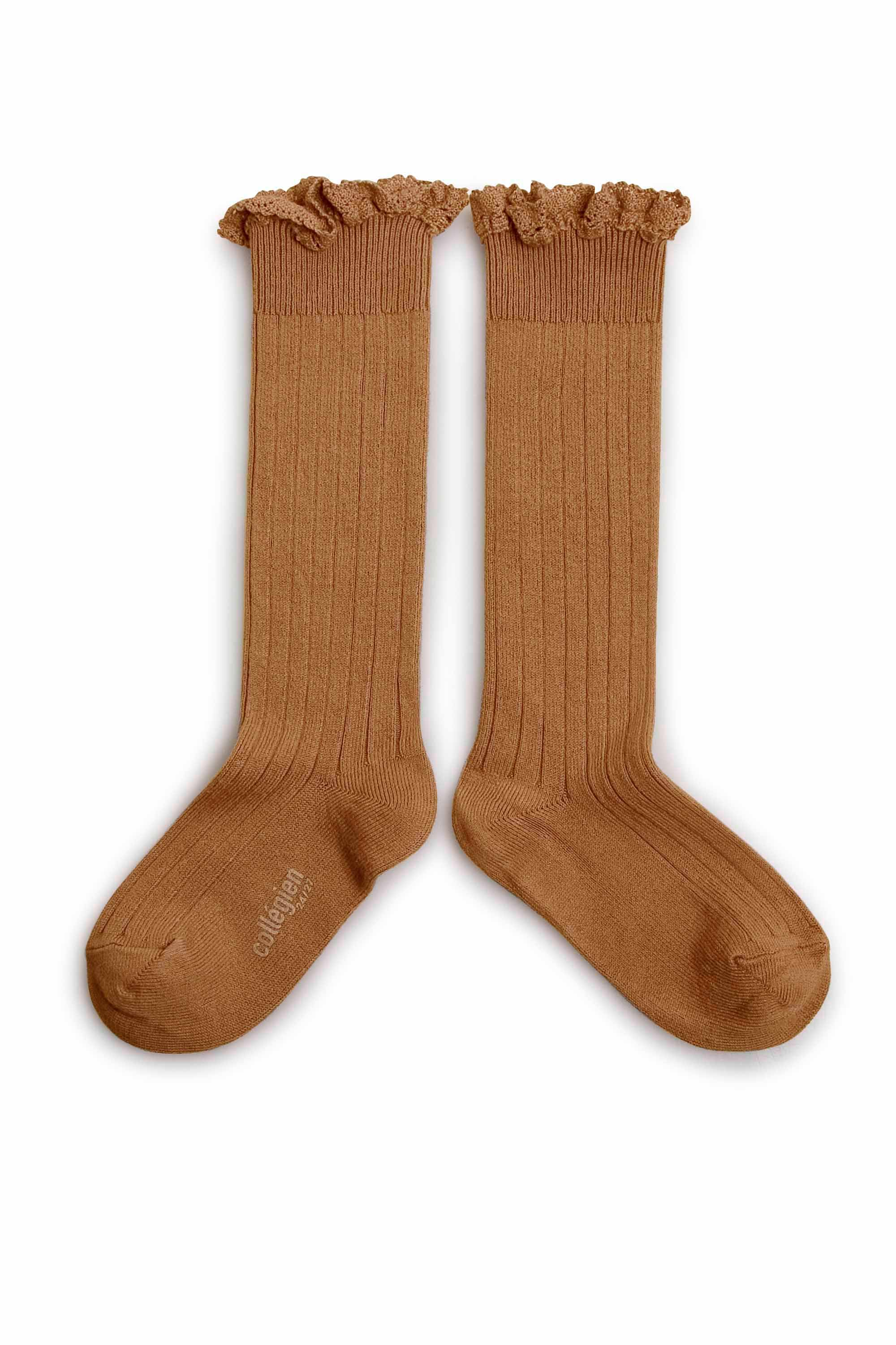 Collegien Ribbed Lace Trim Knee High Socks / Caramel Au Beurre