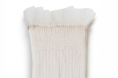 Collegien Ribbed Tulle Trim Knee High Socks / Doux Agneaux