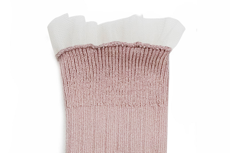 Collegien Ribbed Tulle Trim Knee High Socks / Vieux Rose