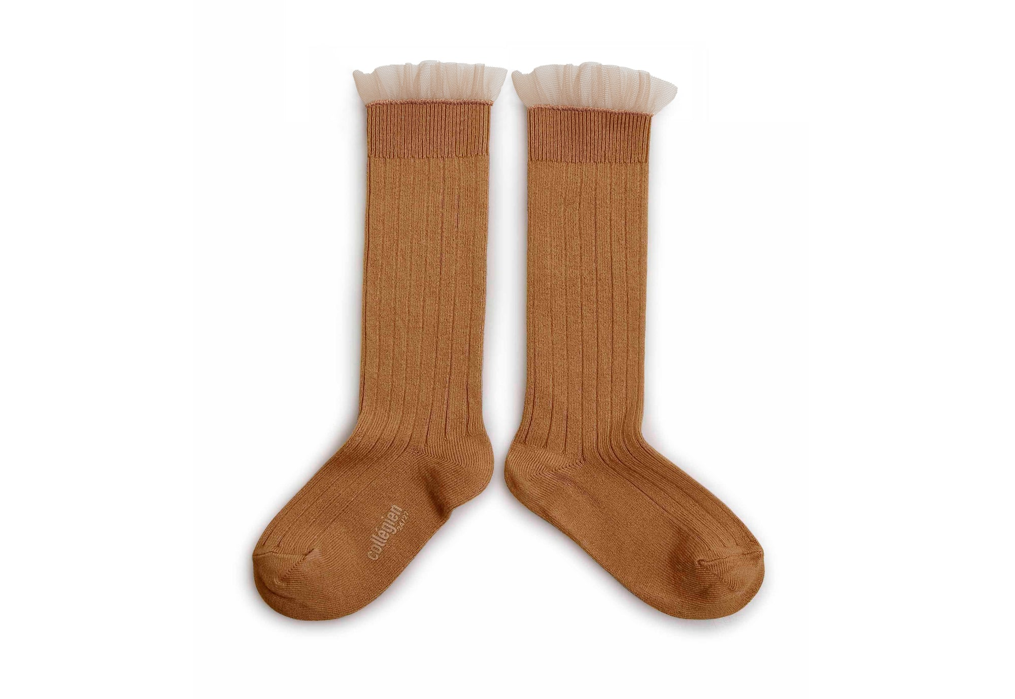Collegien Ribbed Tulle Trim Knee High Socks / Caramel Au Beurre