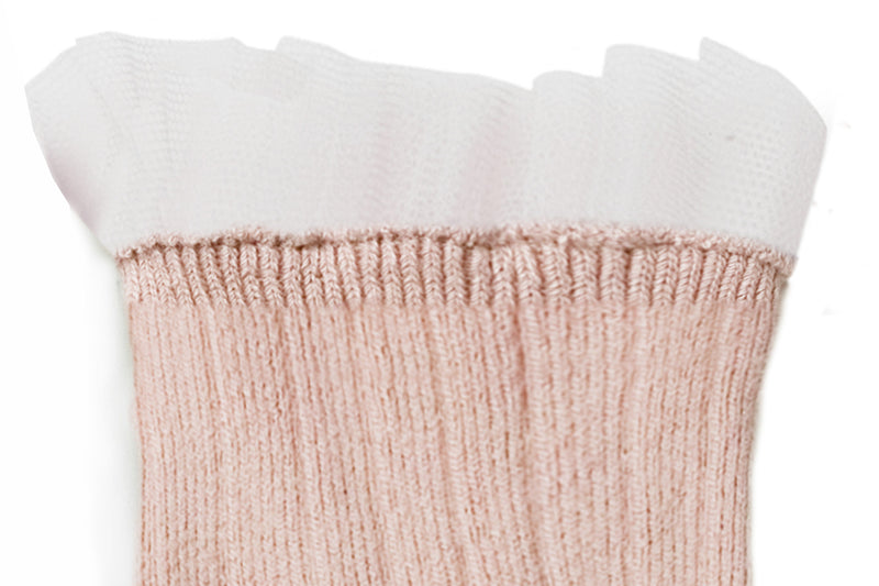 Collegien Ribbed Tulle Trim Ankle Socks / Vieux Rose