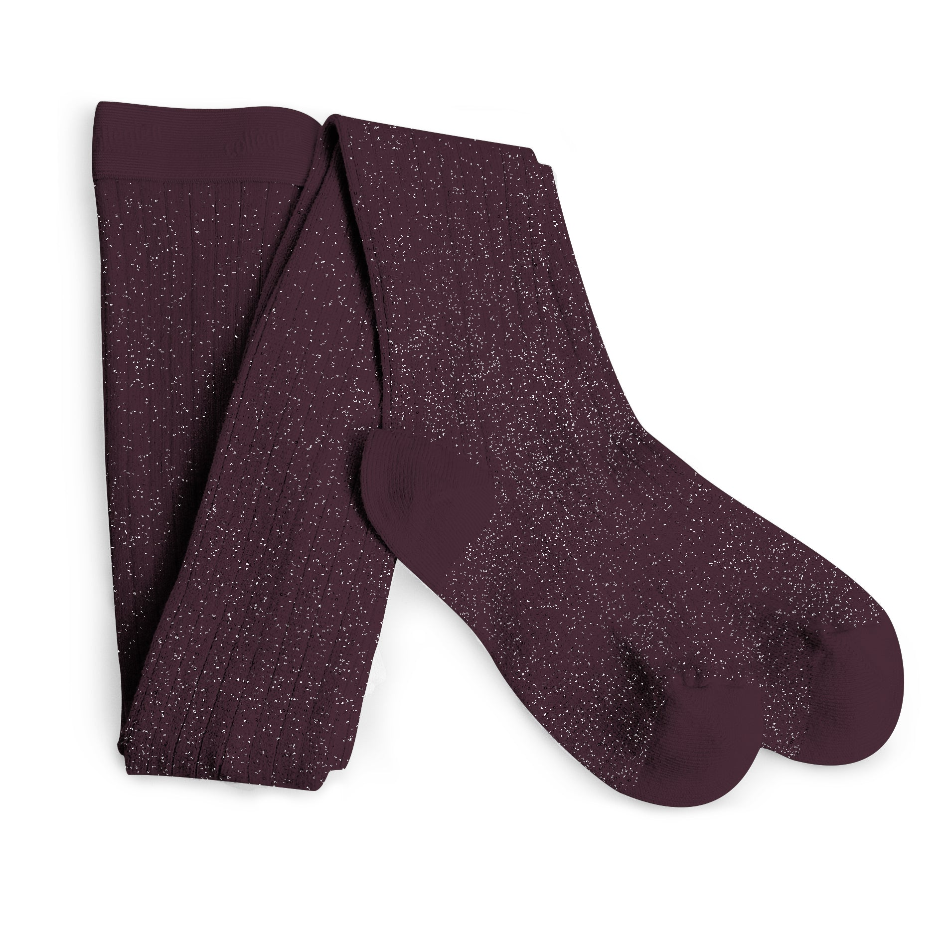 Collegien Ribbed Glitter Tights / Aubergine