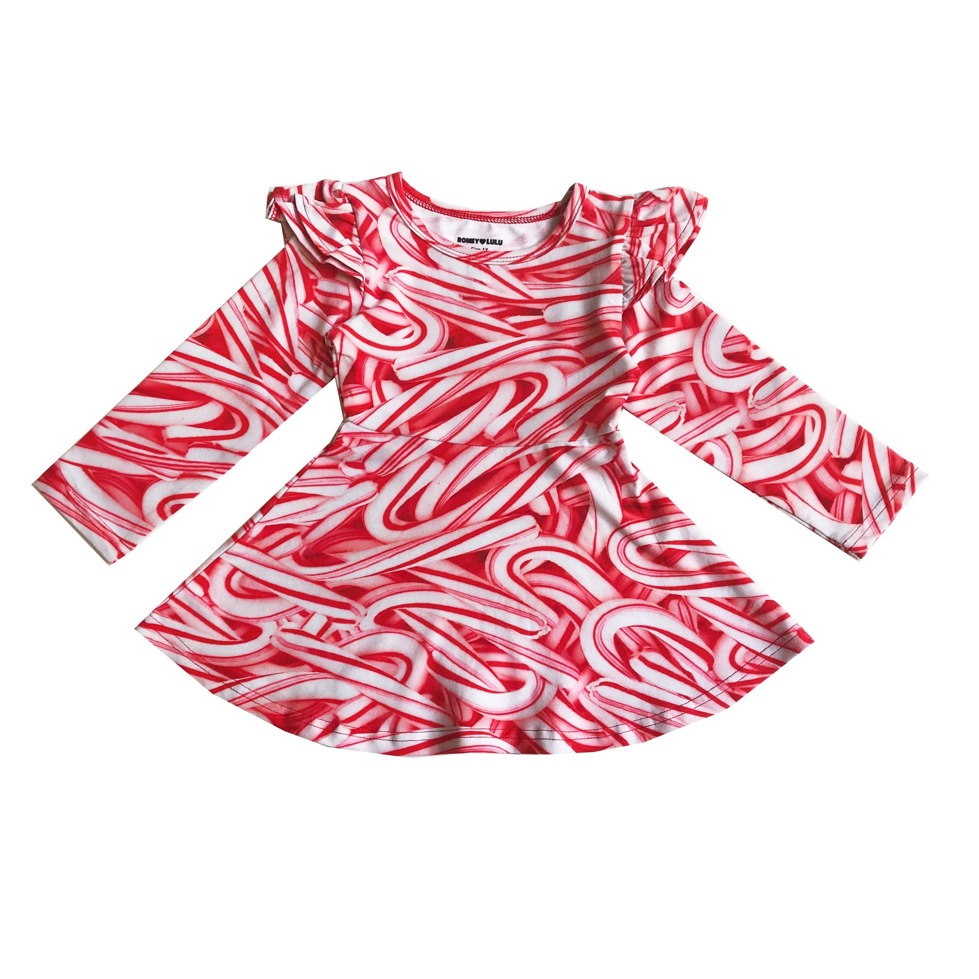 Romey Loves Lulu Candy Canes Ruffle Skater Dress