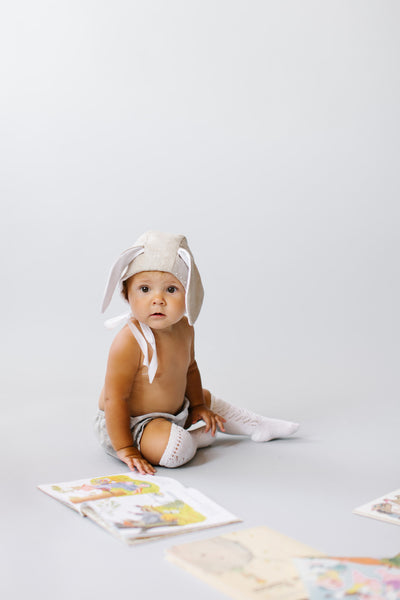 Tortoise and The Hare French Knot Rabbit Bonnet - Le Petit Organic