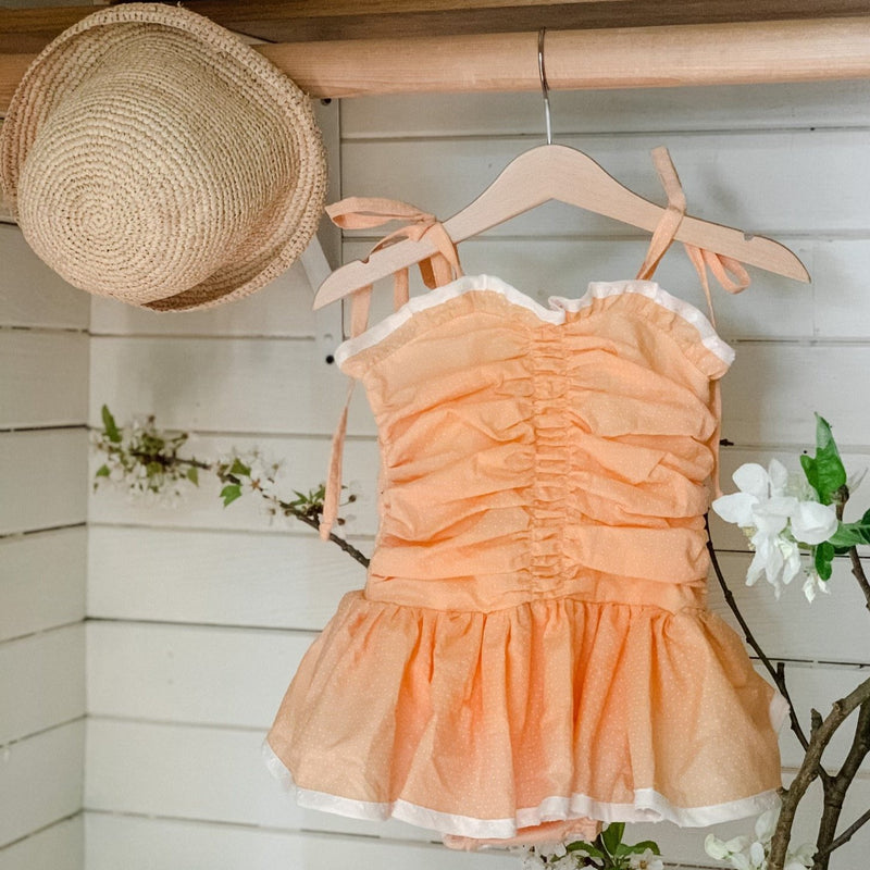 Le Petit Elle JoJo Playsuit / Flocked Swiss Dot - Peach