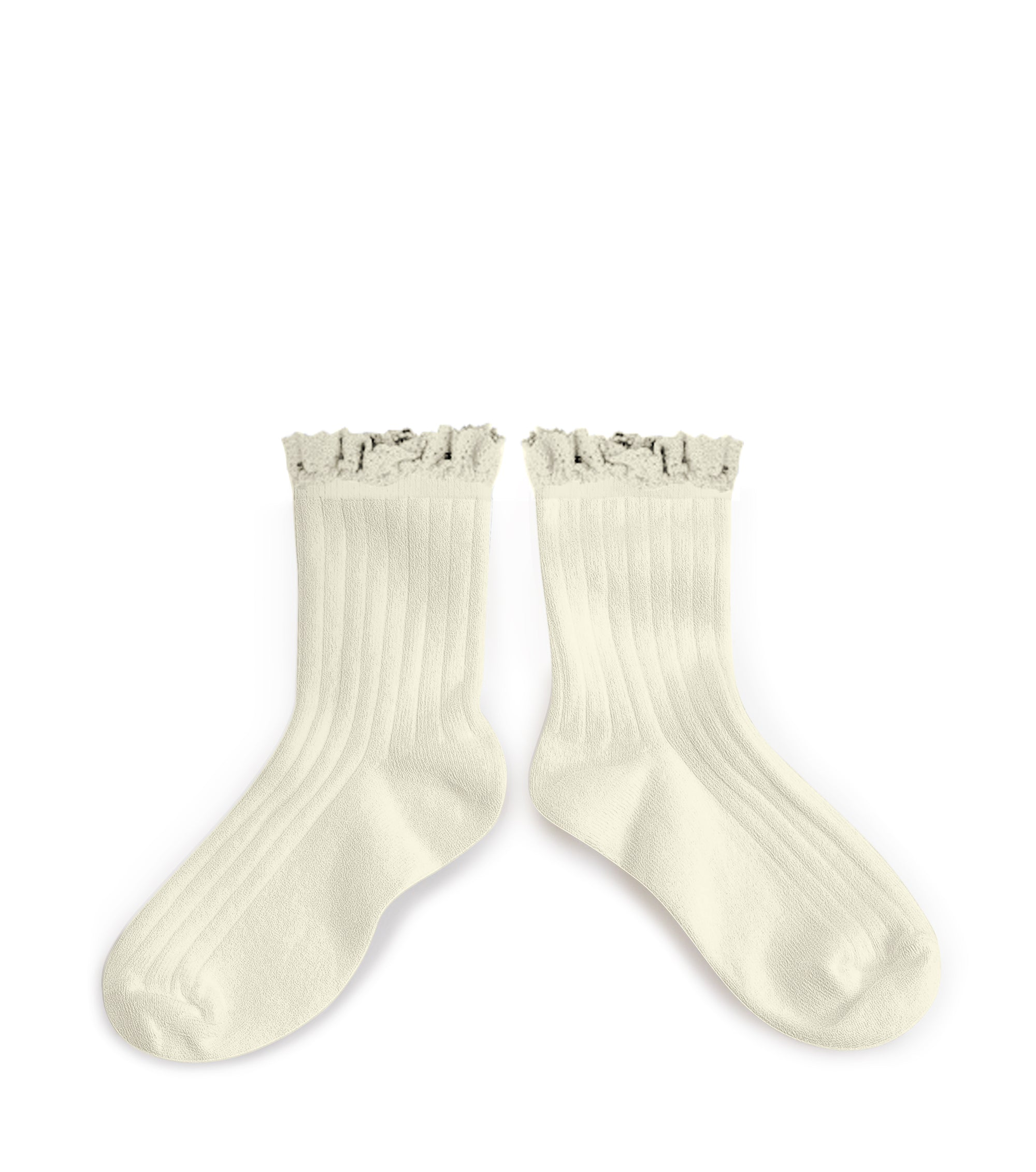 Collegien Ribbed Lace Trim Ankle Socks / Doux Agneaux