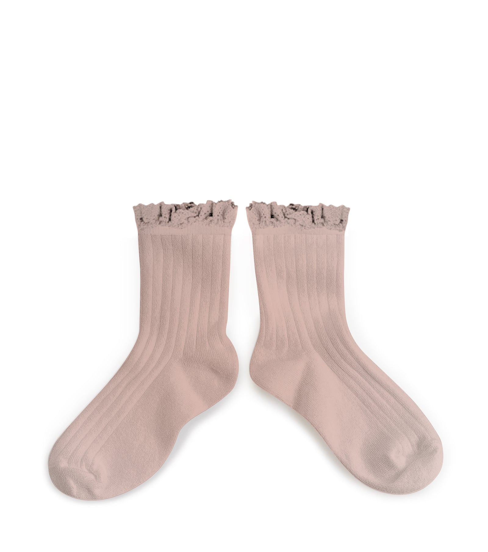 cacd377fc9f Collegien Ribbed Lace Trim Ankle Socks   Vieux Rose