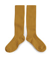 Collegien Ribbed Knee High Socks / Mustard - Le Petit Organic