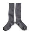 Collegien Ribbed Knee High Socks / Grey - Le Petit Organic