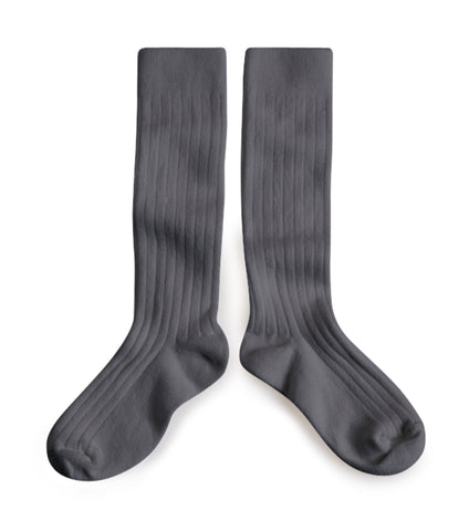 Collegien Ribbed Knee High Socks / Grey