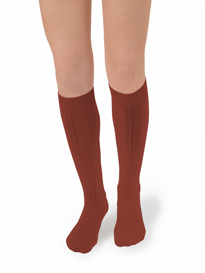 Collegien Ribbed Knee High Socks / Brick Red - Le Petit Organic
