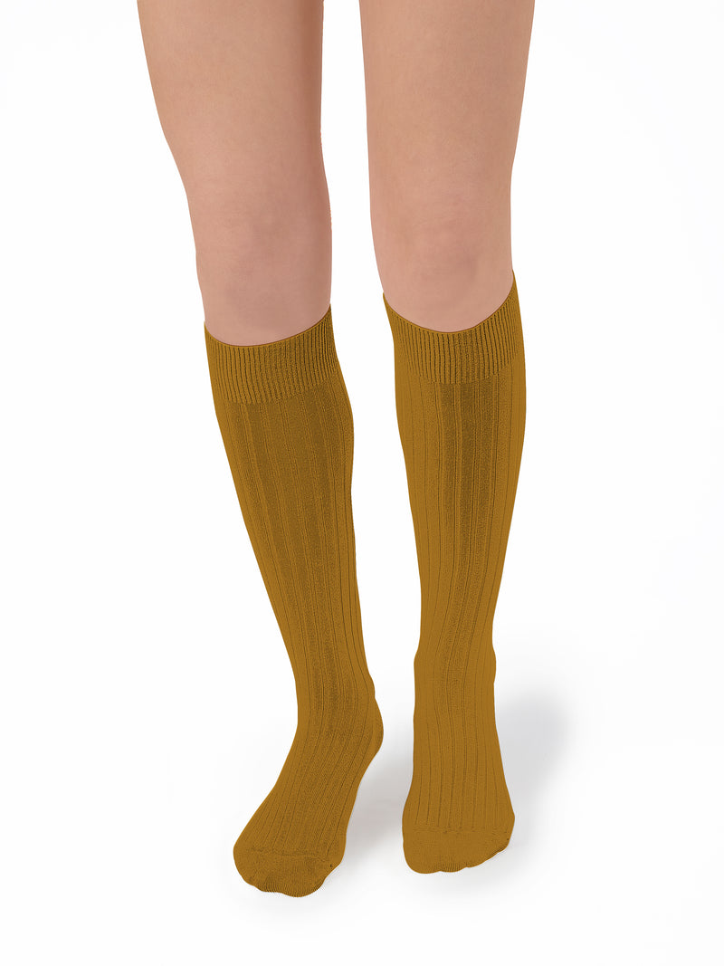 Collegien Ribbed Knee High Socks / Moutarde de Dijon