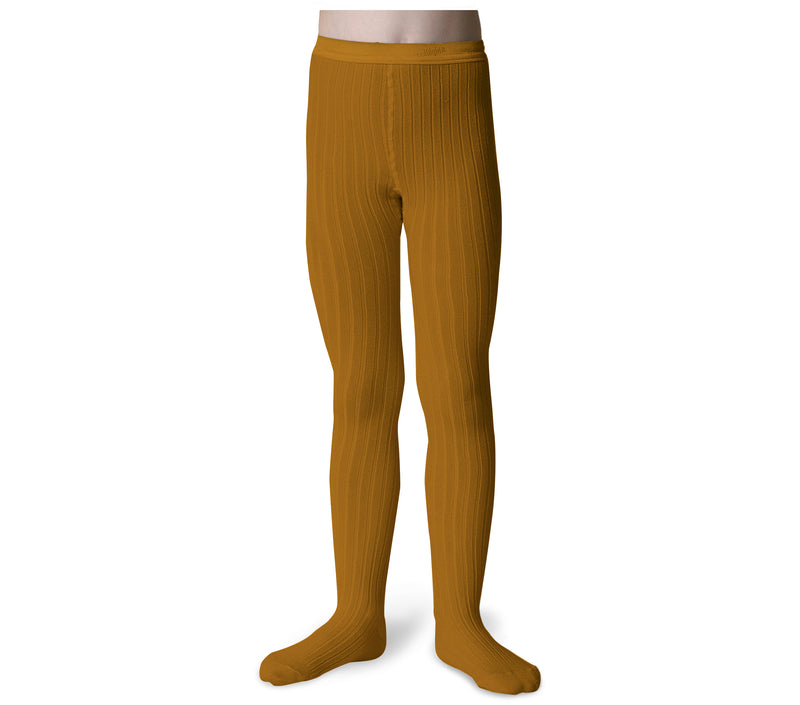 Collegien Ribbed Tights / Mustard - Le Petit Organic