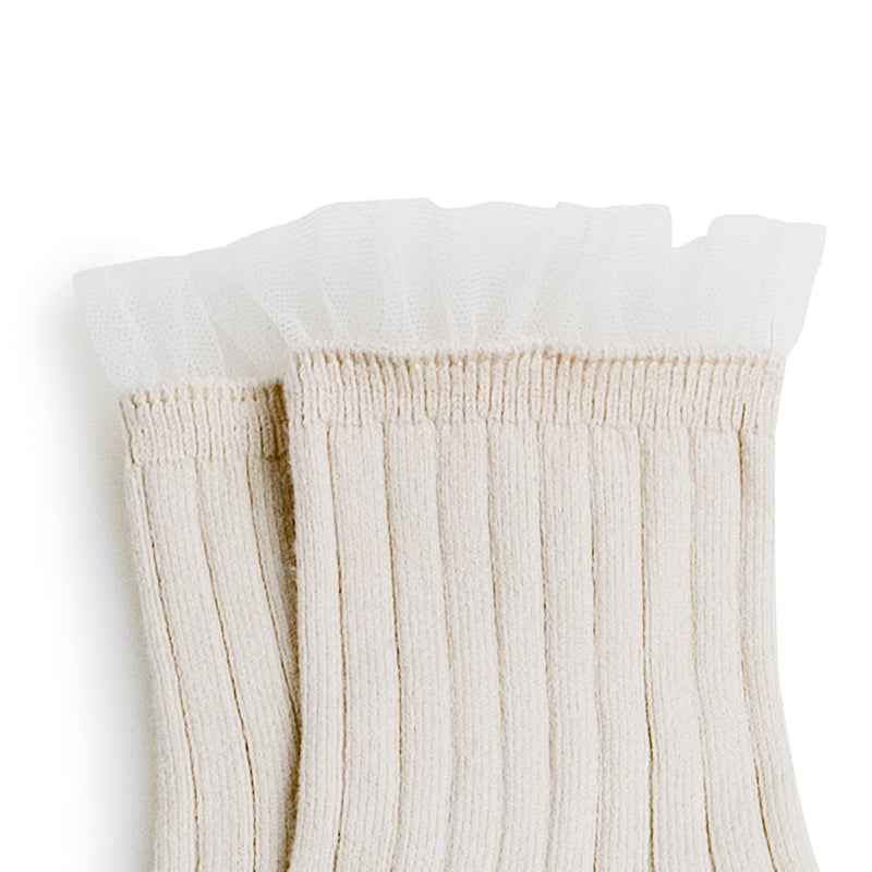 Collegien Ribbed Tulle Trim Ankle Socks / Doux Agneaux