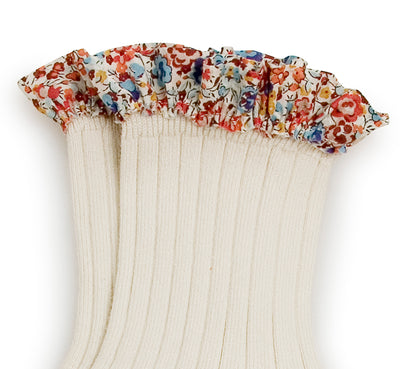 Collegien Ribbed Liberty Trim Ankle Socks / Doux Agneaux