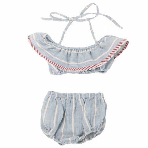 Le Petit Elle Ryliegh Bikini Sunsuit / Pale Blue Stripes - Le Petit Organic