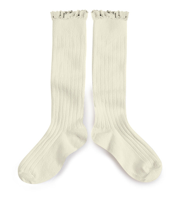 Collegien Ribbed Lace Trim Knee High Socks / Doux Agneaux