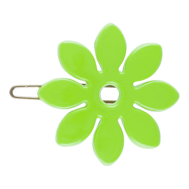 Flower Barette Hair Clip - Neon Green