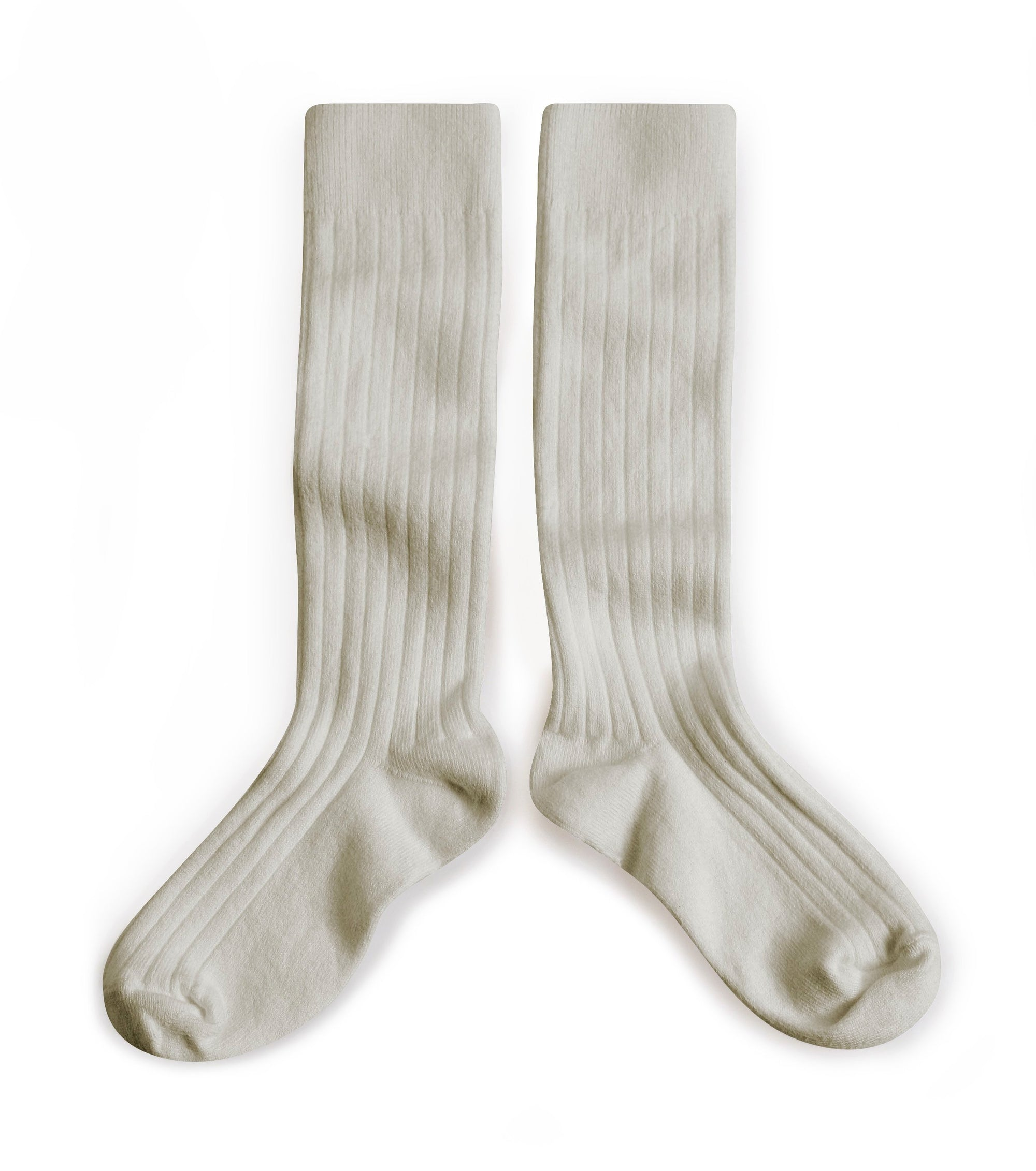 Collegien Ribbed Knee High Socks / Light Grey - Le Petit Organic