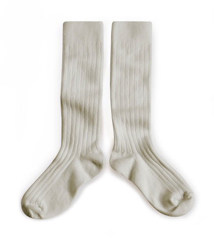 Collegien Ribbed Knee High Socks / Light Grey