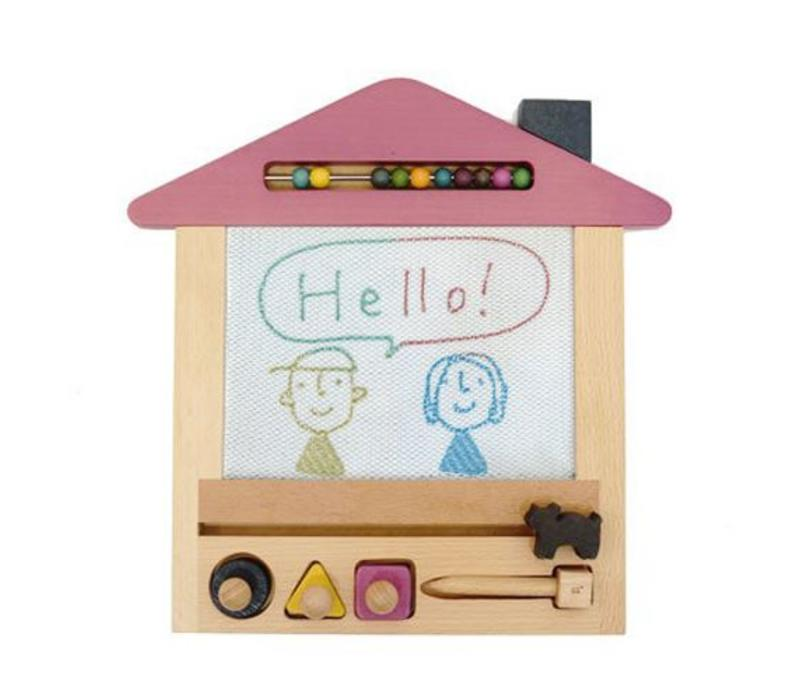Kiko Wooden Toys -  Oekaki house (cat) - magic drawing board