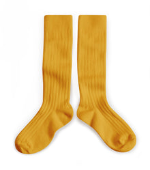 Collegien Ribbed Knee High Socks / Honey Yellow - Le Petit Organic