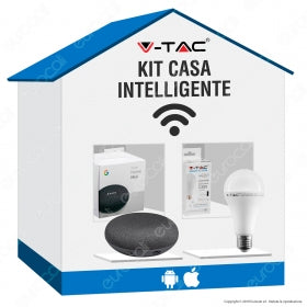 KIT CASA INTELLIGENTE CON GOOGLE HOME MINI E LAMPADINA E27 V-TAC SMART 15W RGB+W 4IN1 DIMMERABILE