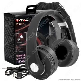 V-TAC VT-6322 CUFFIE WIRELESS A PADIGLIONE BLUETOOTH CON MICROFONO E JACK 3,5MM COLORE NERO - SKU 7730