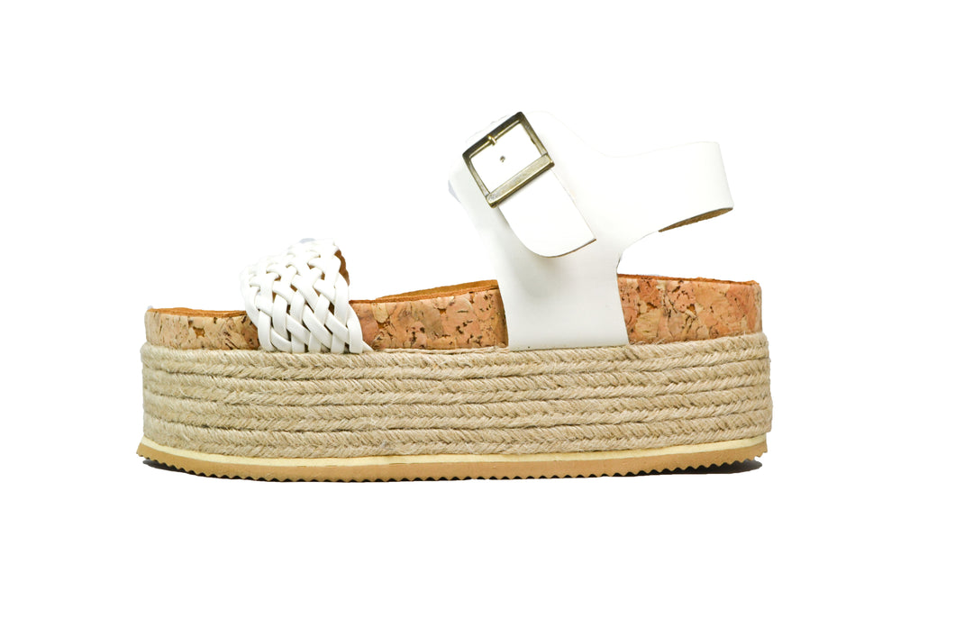 ATENEA SUPER WEDGE TRENZA BLANCO
