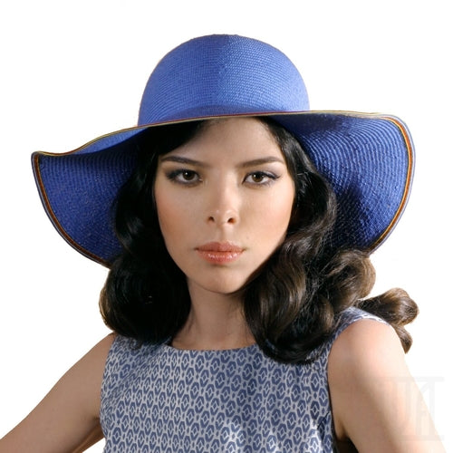 Floppy sky blue straw sun hat for women Summer beach Headwear
