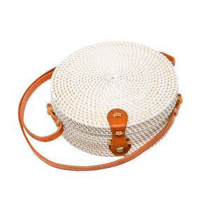 CAMILLA {White} - A Circle Rattan Straw Shoulder - Vartecci