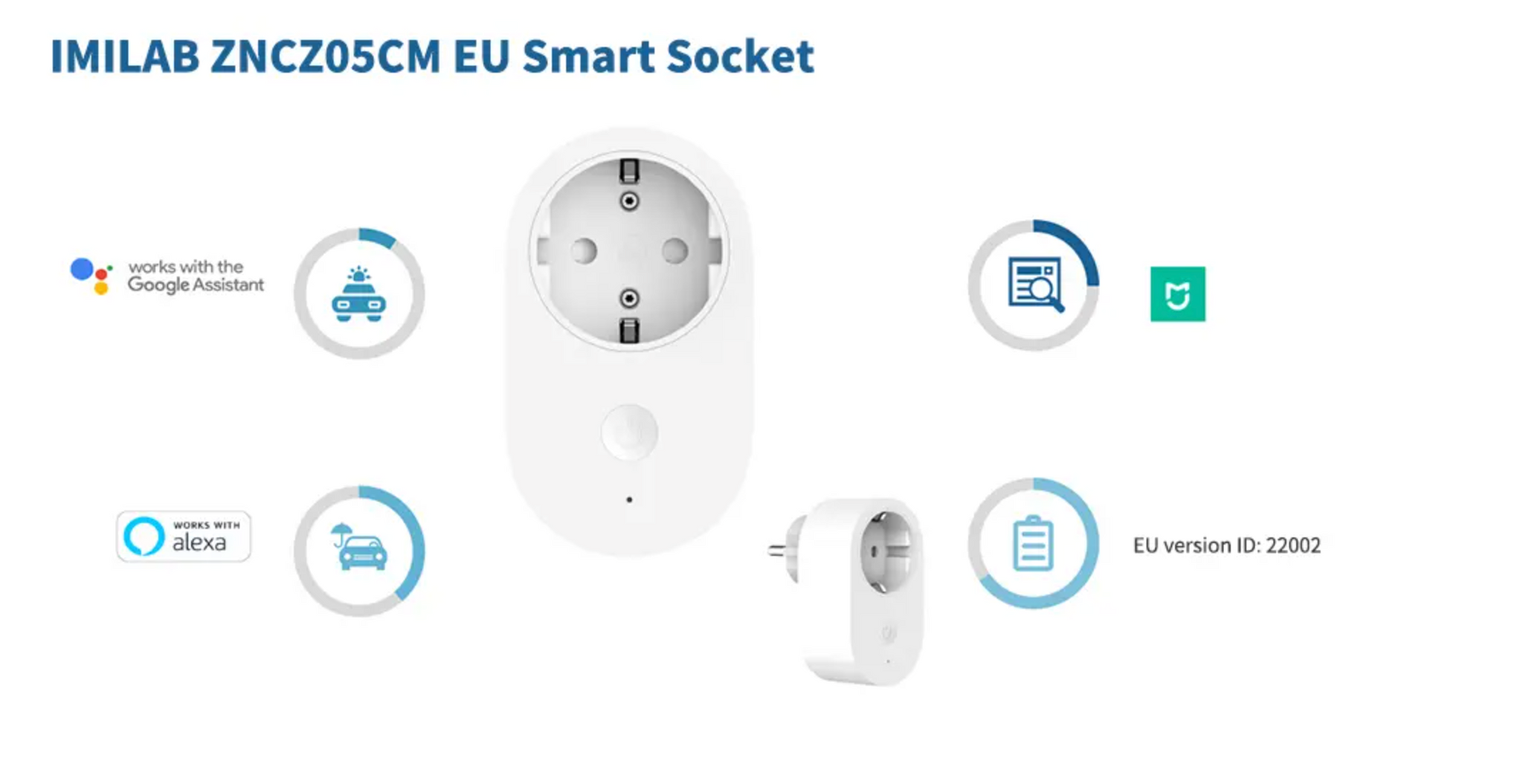 XIAOMI MIJIA 16A 3680W EU Plug Smart WIFI Socket Switch APP Remote Control Works with Google assistant Alexa