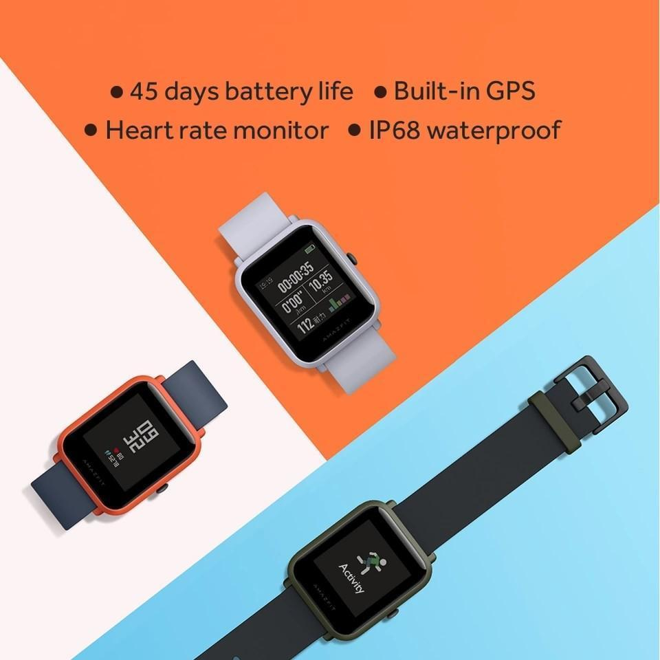 Xiaomi amazfit Bip Black GPS Smart Watch A1605 with FREE Protective case