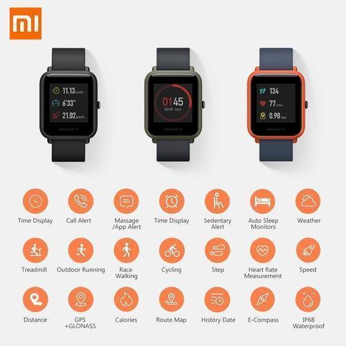 Xiaomi amazfit Bip Black GPS Smart Watch A1915 with FREE Protective case
