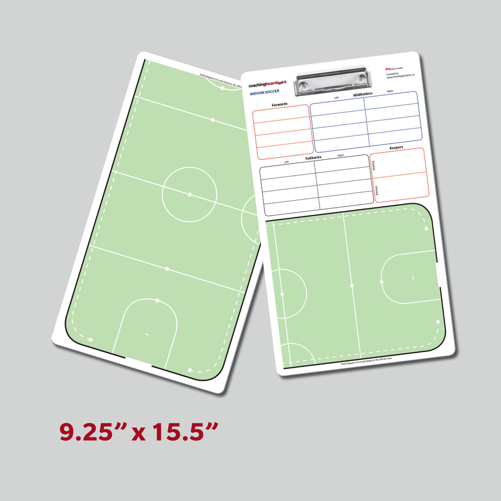 Indoor Soccer 2 sided dry erase clipboard with player lineups