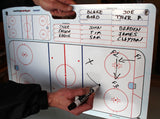 Action shot of Large dry erase hockey coaching board with large suction cups.