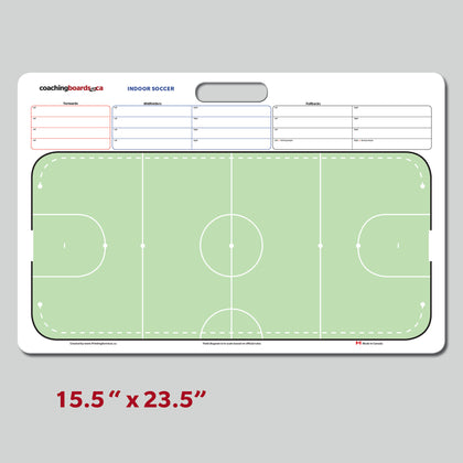 Large dry erase indoor soccer coaching board, field to scale with player lineups.