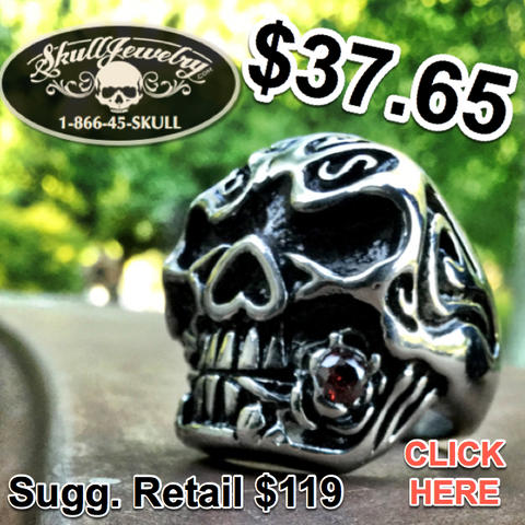 'You Could Be Mine' Big, Bold & Heavy Skull Biker Ring