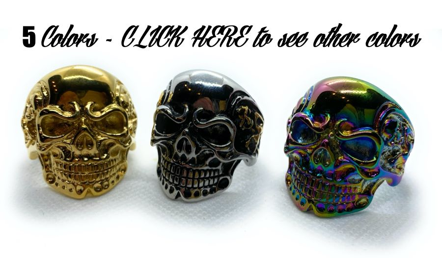 five colors of the heavy biker skull ring available