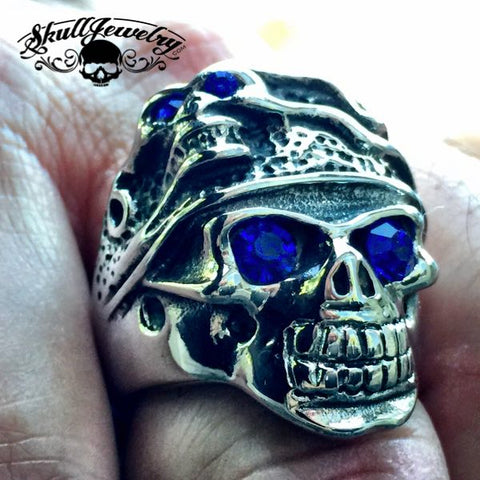 """Behind Blue Eyes"" Two Faces / Blue Stone Eyes Skull Ring"