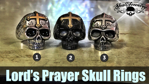3 styles of lords prayer skull rings