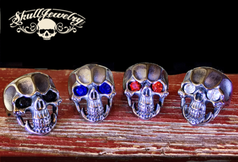 gem stone eyes skull rings