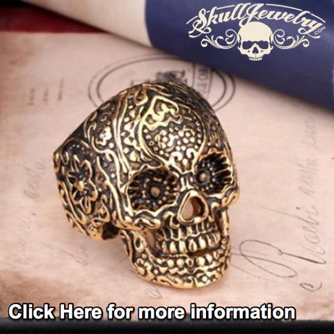GOLD-Tone 'All Saints Day' Vintage Flower Skull Ring